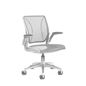Pinstripe Mesh Silver World Task Chair, Adjustable Arms, White Frame